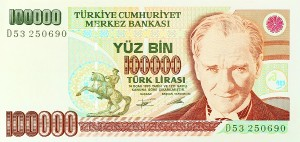 100,000 Lira Turkish old banknote, front