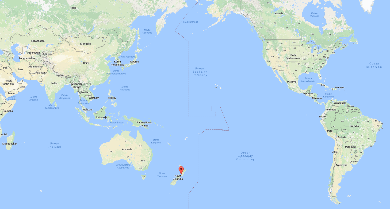 Linia zmiany daty i zaznaczone Wellington. |źródło: www.google.pl