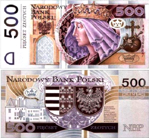 Dawna koncepcja bankontu o nominalne 500PLN z podobizną królowej Jadwigi