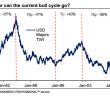 Wykres prezentuje dotychczasowe bycze i niedźwiedzie cykle na dolarowym indeksie TWI