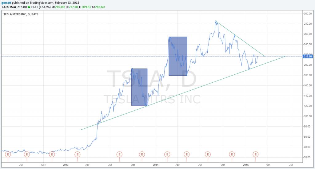 Notowania Tesla Motors - wykres liniowy