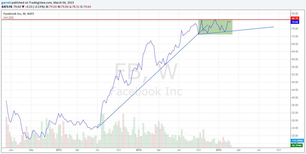 Liniowy wykres notowań FB na interwale tygodniowym