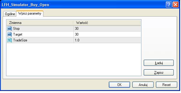 Przykład otwarcia nowej pozycji kupna. Wartości SL, TP oraz wielkość pozycji można zmieniać wedle uznania.