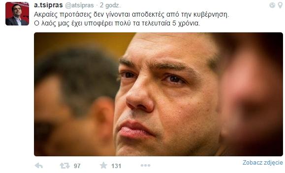 Tweet Tsiprasa: Skrajne propozycje nie są akceptowane przez rząd. Nasi obywatele ponieśli już znaczne niedogodności w ciągu ostatnich pięciu lat.