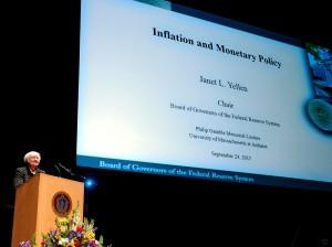 Janet Yellen podczas przemówienia w UMASS. |źródło: www.businesinsider.com