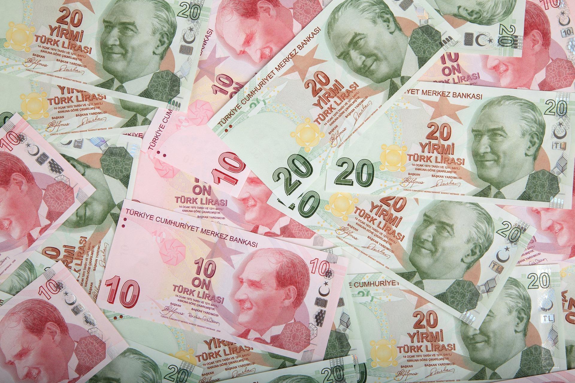 Banknoty liry tureckiej nominały 20 lir oraz 10 lir