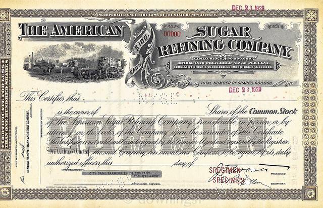 Papier wartościowy spółki American Sugar | źródło: wikipedia.org
