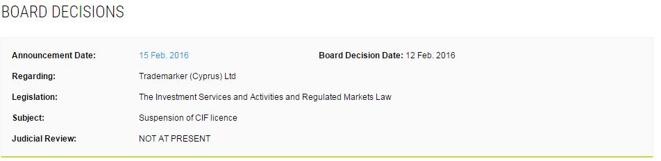 Informacja o decyzji na stronie CySEC