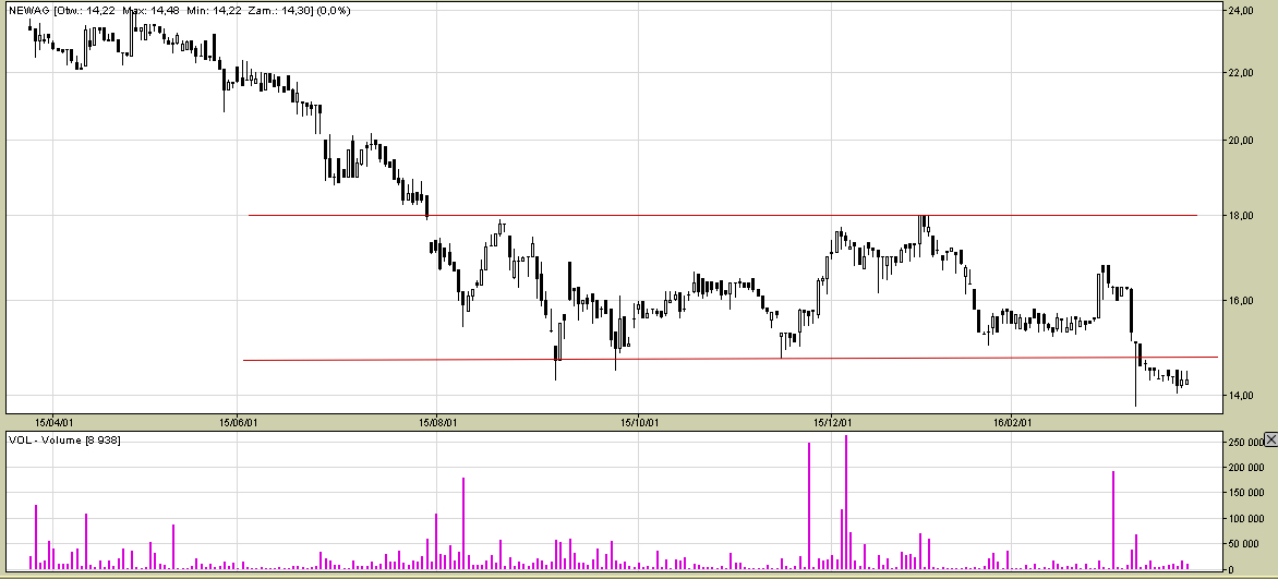 Wykres spółki Newag dla interwału D1.