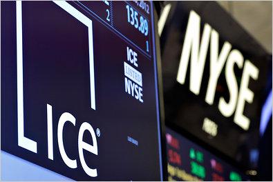 Logo Intrercontinental Exchange (ICE) na giełdzie