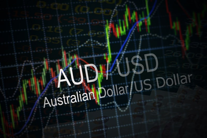 Napis AUD/USD na tle wykresy