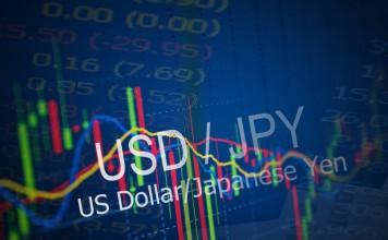 Napis USD/JPY na tle wykresy
