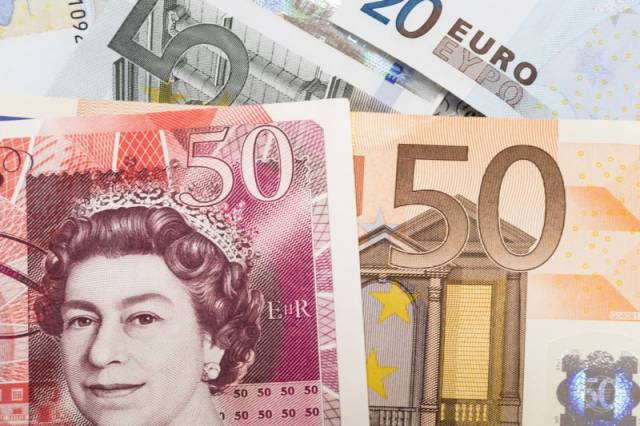 Banknoty 50 euro, 20 euro oraz 50 funtów brytyjskich