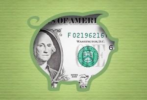 Kurs dolara banknot dolara wewnątrz grafiki świnki skarbonki
