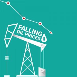 grafika przedstawiająca szyb naftowy z napisem falling oil prices