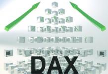 Napis DAX na tle piramidy ułożonej z kwadratów
