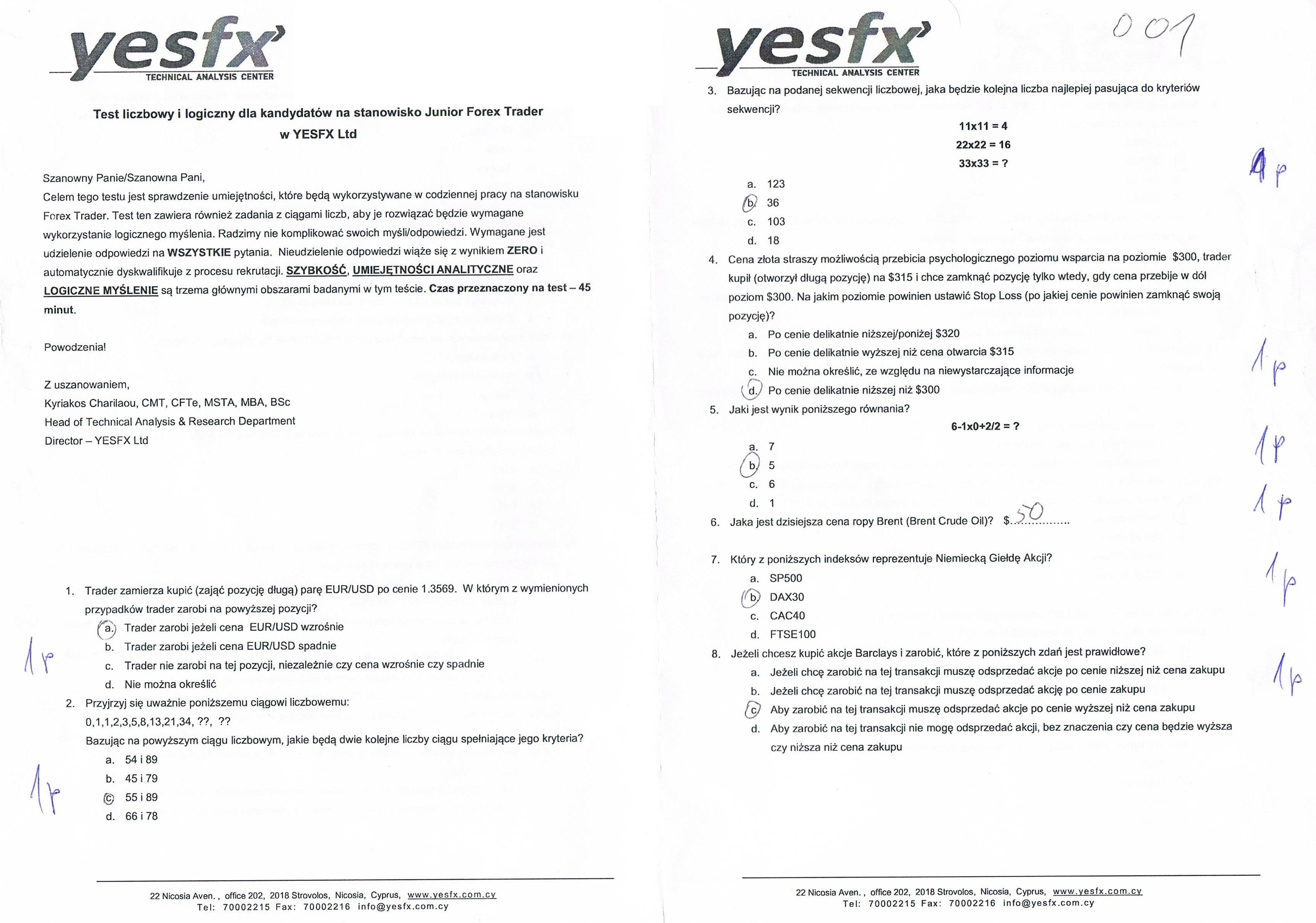Jeden z przykładowych testów YESFX. Skan edytowany w celu zachowania anonimowości