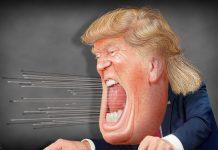karykatura krzyczącego trumpa