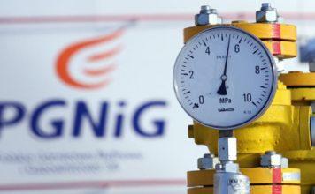 Logo PGNiG w tle wskaźnika gazu