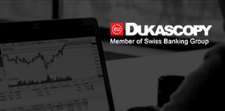 Wykres na ekranie i logo Dukascopy