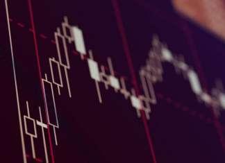 Wykres świecowy Forex na czarnym tle