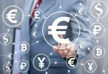 Symbole różnych walut w okręgach w tym euro EUR jen JPY dolar USD