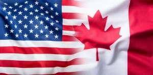 Kolaż flag Stanów Zjednoczonych oraz Kanady