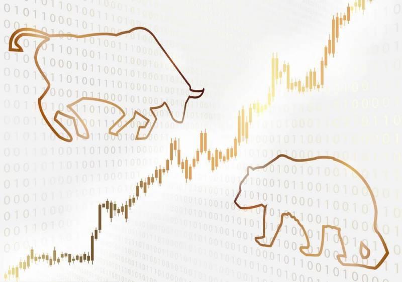 Obramowanie w kształcie byka i niedźwiedzia na tle wykresu