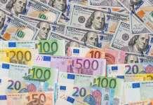 banknoty euro i dolar