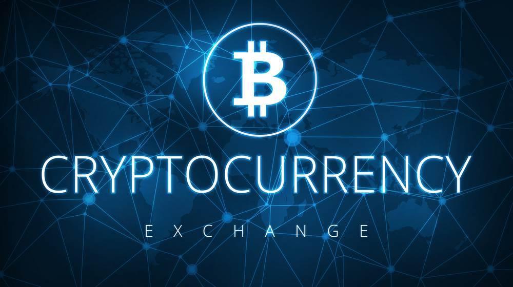 Napis Cryptocurrency Excchange (Giełda Kryptowalut) a nad nim logo Bitcoin w kółku