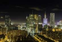 Panorama Warszawy nocą