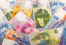 Banknoty franka szwajcarskiego (CHF) o nominałach 50, 20, 10, 100