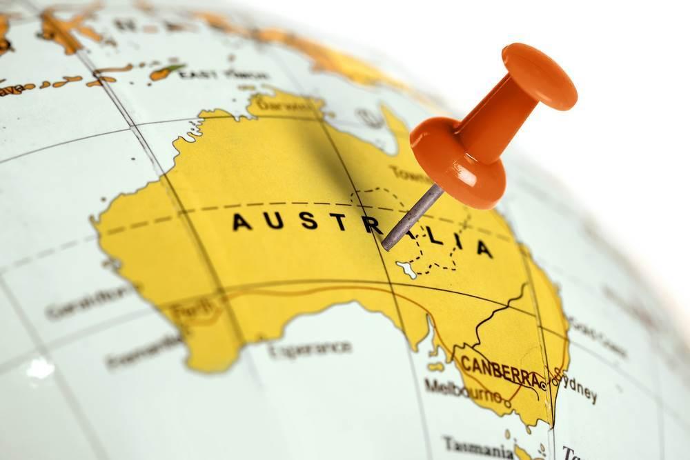 pinezka wbita w australię