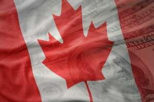 Flaga Kanady z widocznym liściem klonu