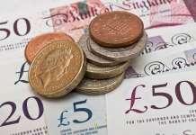 Monety funta szterlinga GBP ustawione na banknotach
