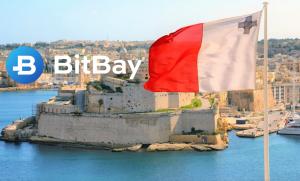 Flaga Malty na tle wyspy i logo BitBay