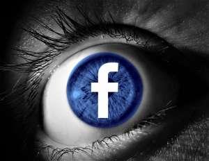 Logo Facebooka na tle oka