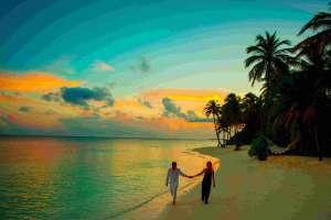 plaża i palmy, spokojny nastrój