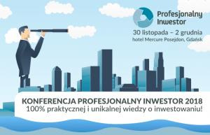 Materiał promocyjny konferencji Profesjonalny Inwestor przedstawiający mężczyznę patrzącego przez lunetę z miastem w tle