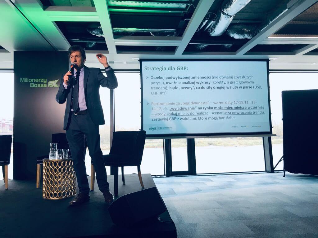 Marek Rogalski z DM BOŚ prezentujący strategiędla funta szterlinga (GBP)