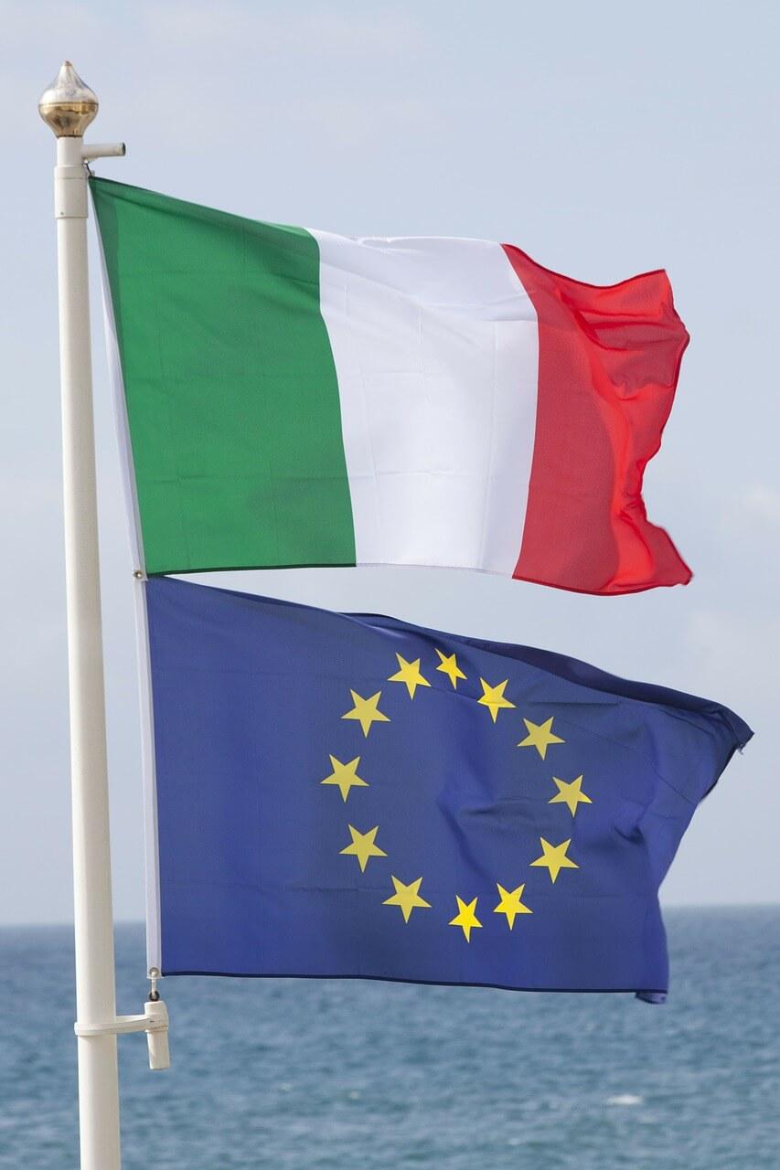 Flaga Włoch i Unii Europejskiej UE UE Italy