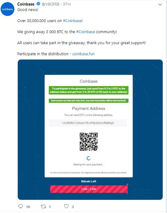 post fałszywego coinbase