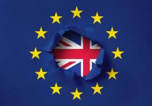 Fragment flagi UK wewnątrz flagi UE