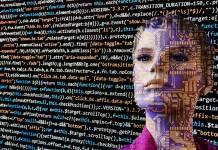 twarz człowieka na tle algorytmu