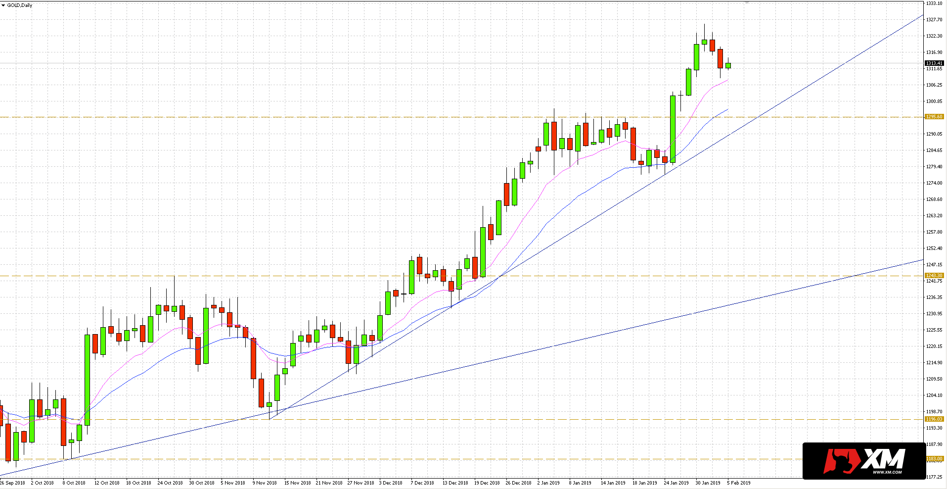 Cena złota w relacja w dolara porusza się w trendzie wzrostowym, gdzie dołki i szczyty ustanawiane są na coraz wyższych poziomach.