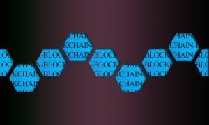 napis blockchain na tle plastrów miodu