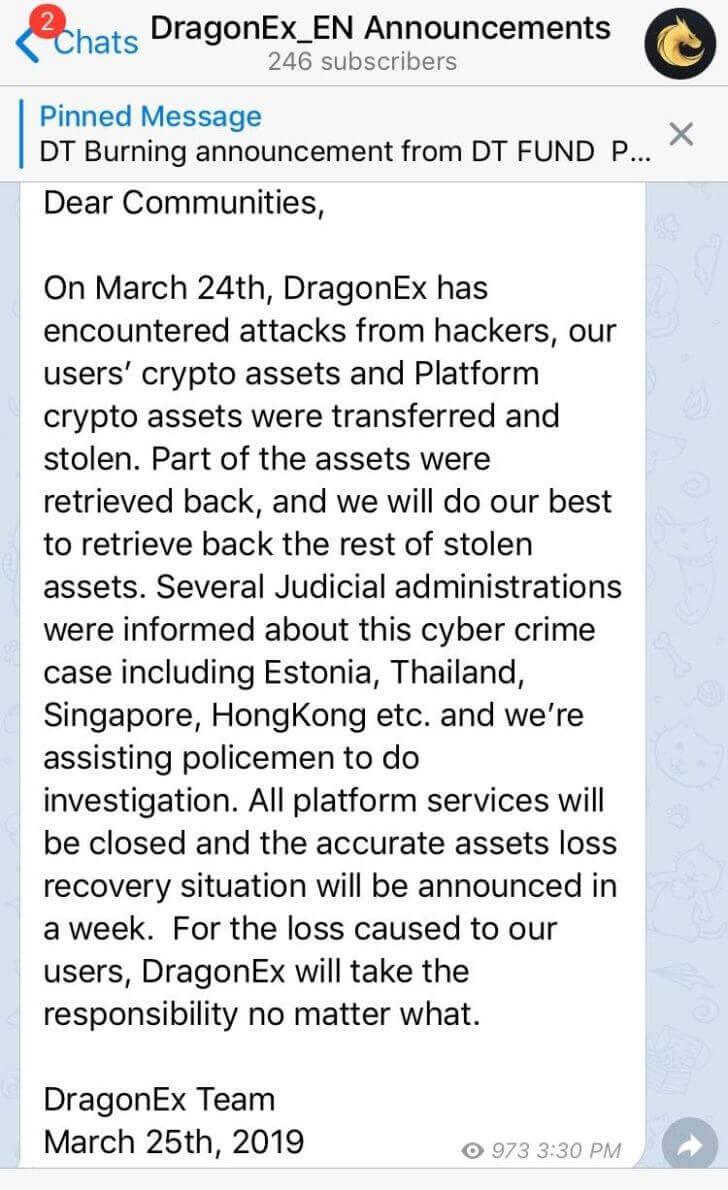 Informacja z giełdy DragonEx opublikowana na Telegramie