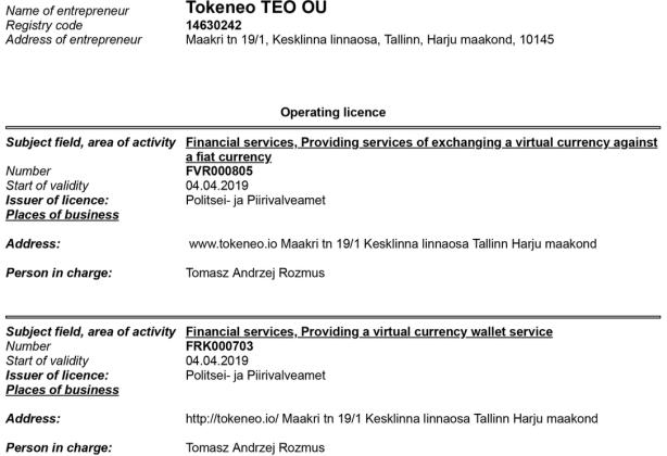 Tokeneo z licencją na prowadzenie działalności