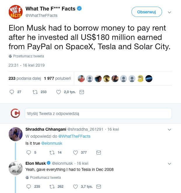 Elon Musk odpowiada na Twitterze