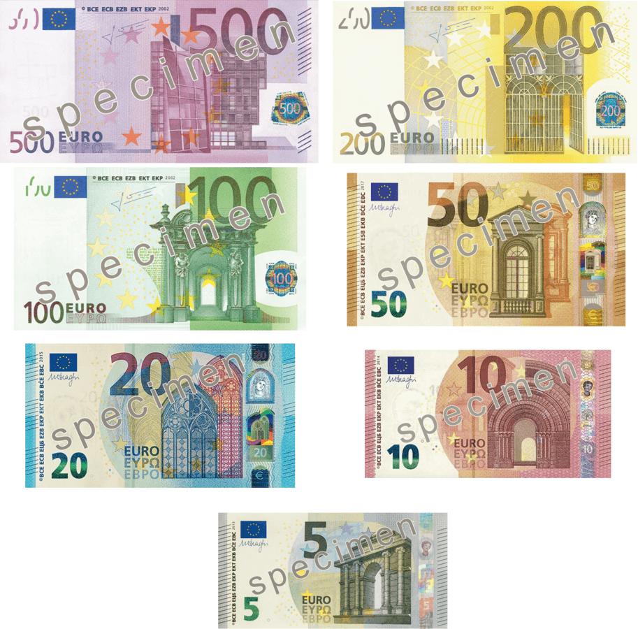 Prezentacja poszczególnych banknotów euro. Źródło: Wikimedia Commons